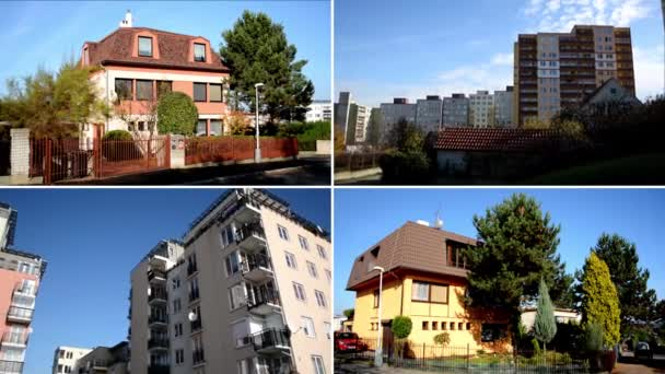 CZECH REPUBLIC, PRAGUE - OCTOBER 16, 2014: 4K montage (compilation) - exterior house in the city and high-rise block of flats - housing estate (development) with nature - sky - urban street