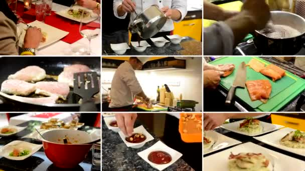 4K compilation (montage) - chefs prepare food (meals) in home - people eat