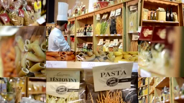 4K montage (compilation) - colourful pasta (olive oil, flour etc.) in bags in shelf - shop