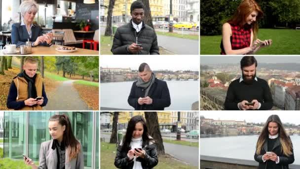 4K compilation (montage) - multicultural people work on mobile phone - street, park, cafe etc.