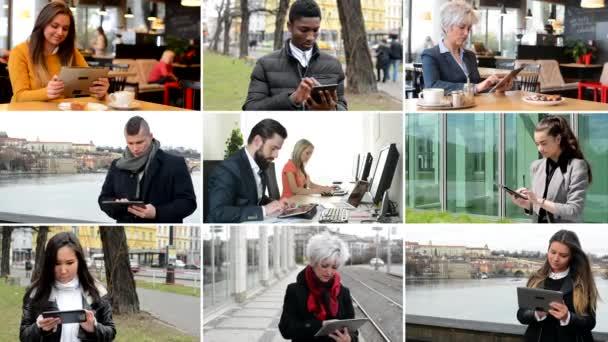 4K compilation (montage) - multicultural people work on tablet - street, park, cafe etc.
