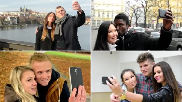 4K compilation (montage) - happy multicultural people take photo (selfie) - street, hall, park and bridge