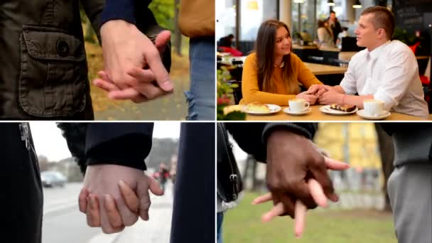 4K compilation (montage) - young models couples in love - happy multicultural couple holding hands - street, park and cafe - city