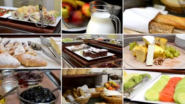 4K montage (compilation) - table with food - buffet - breakfast - fruits, milk, cheese, baker product etc.