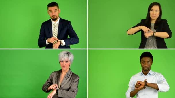 4k kompilace (MONTAGE)-lidé poukazují na sledování času (Kavkazská žena a muž, Asijská žena, černoch)-zelené plátno