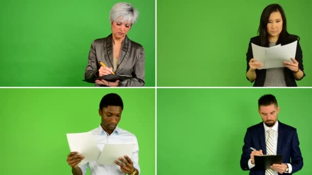 4K compilation (montage) - people read documents and write on papers (caucasian woman and man, asian woman, black man) - green screen studio