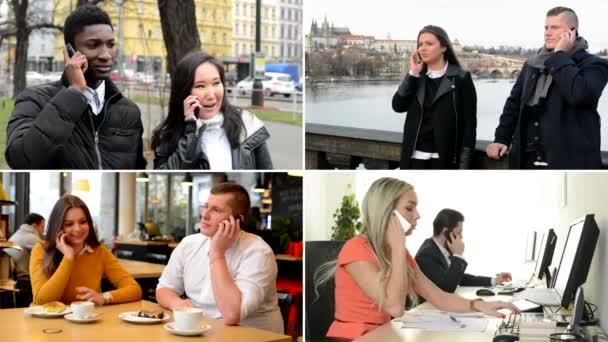 4k Kompilation (Montage) - Paare telefonieren mit Mobiltelefon - Büro, Café, Park und Brücke