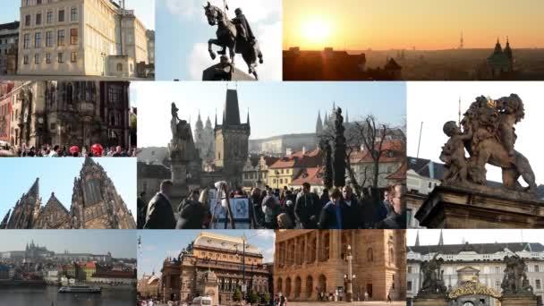 Praha, Česká republika-září, 2014:4k kompilace (MONTAGE)-zajímavá místa v Praze-budovy a sochy-východ slunce-Charles Bridge-lidé pěšky