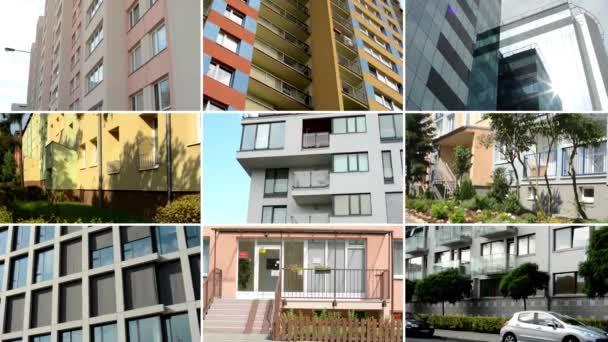 Prag, Tschechische Republik - 14. August 2014: 4k Montage (Zusammenstellung) - moderne Gebäude - Balkon - Fenster - blauer Himmel - Natur