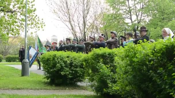 PRAGUE, CZECH REPUBLIC - MAY 2, 2015: commemorate the victims of World War II at the cemetery - soldiers salute