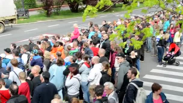 PRAGUE, CZECH REPUBLIC - MAY 2, 2015: people watch performance on the street - view from above