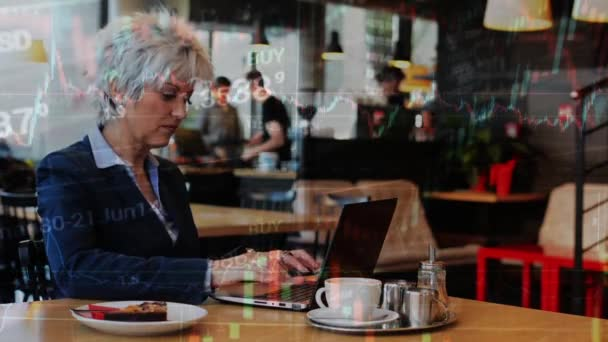 compilation - business middle aged woman works on computer (notebook) in cafe - financial market (exchange) - graph