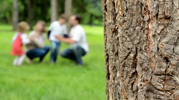 detail of tree bark - blur background: family (middle couple in love, cute girl and small boy) play together in park