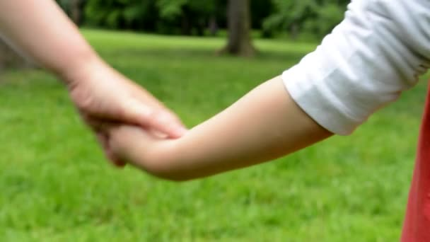 children (siblings - boy and girl) holding hands and walking in park