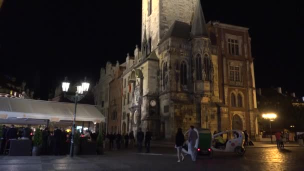 PRAGUE, CZECH REPUBLIC - MAY 30, 2015: night city - Old Town Square - The Old Town Hall with Prague astronomical clock