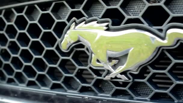 PRAGUE, CZECH REPUBLIC - JUNE 20, 2015: classic American car - detail of logo Mustang