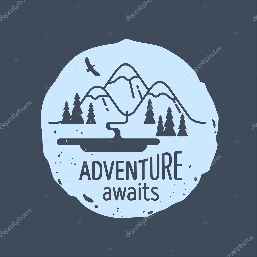gratulationskort utskrift Mountain. Äventyr väntar. Element för gratulationskort  gratulationskort utskrift