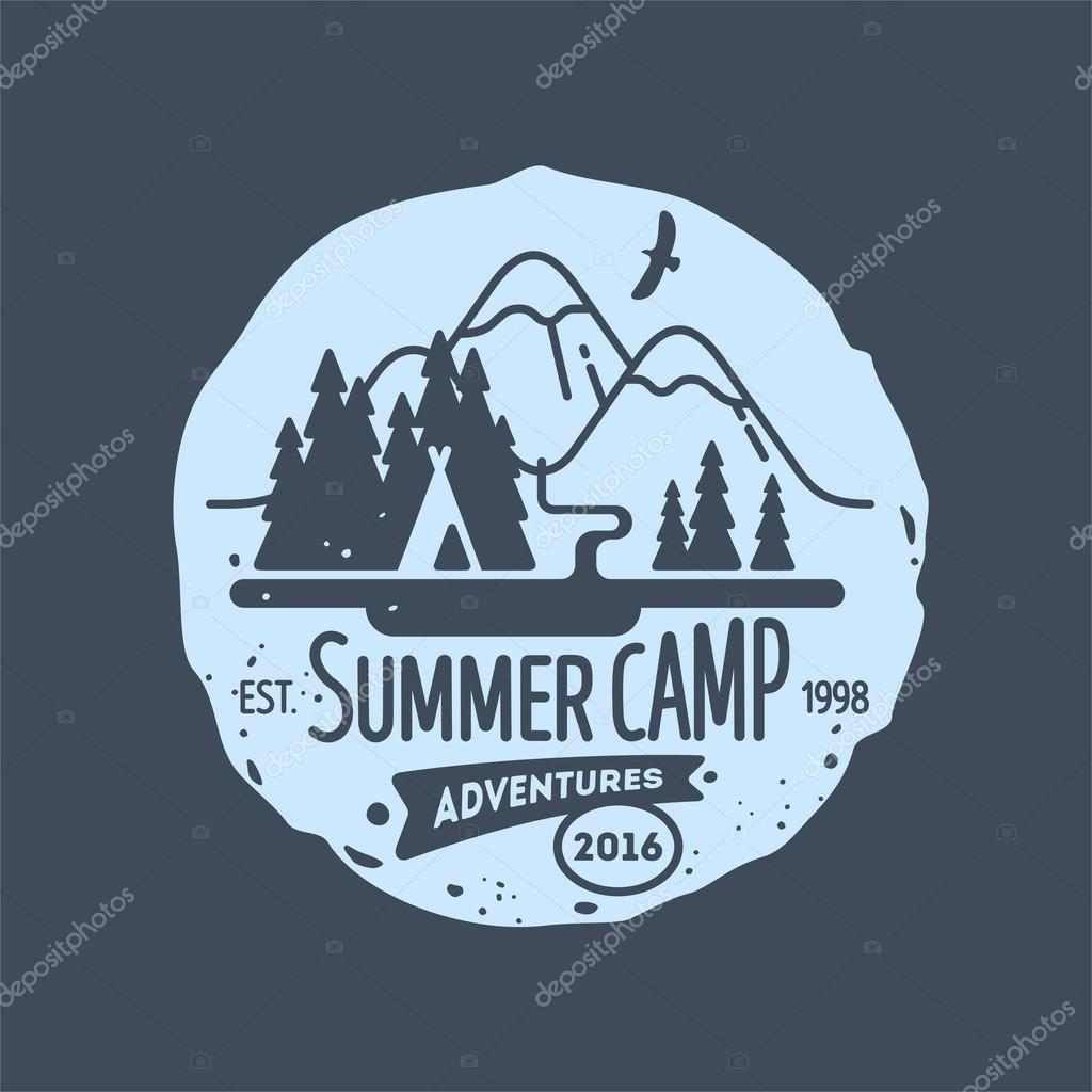 Mountain. Summer camp. Element for greeting cards, websites, posters and t-shirts printing. Vector illustration.