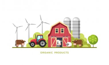 Farming background with barn, windmill, tractor, cows and sheep. Organic products, farm fresh products concept. Vector illustration.