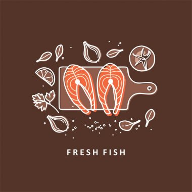 Steaks fish with fresh herbs. Fresh organic seafood. Vector illustration.