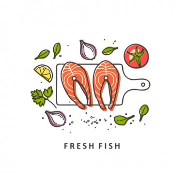 Steaks fish with fresh herbs. Fresh organic seafood. Vector illustration.