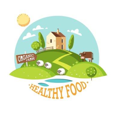 Spring and summer landscape, farm landscape, rural scenery. Organic farm. Healthy food. Vector illustration.