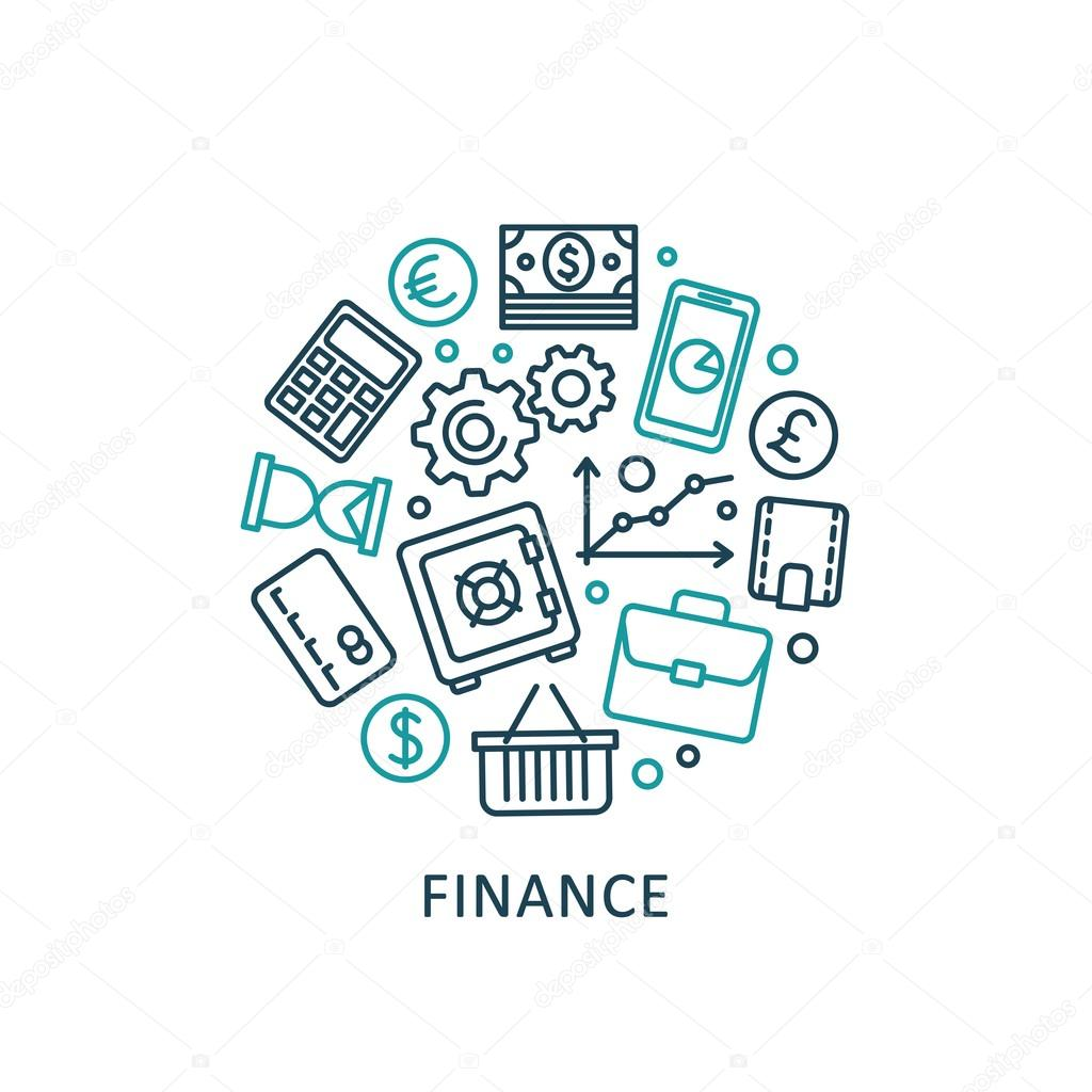 Finance: Flat Design Elements Of Finance Strategy, Financial