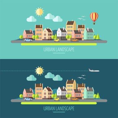 Flat design urban landscape - vector illustration. clip art vector