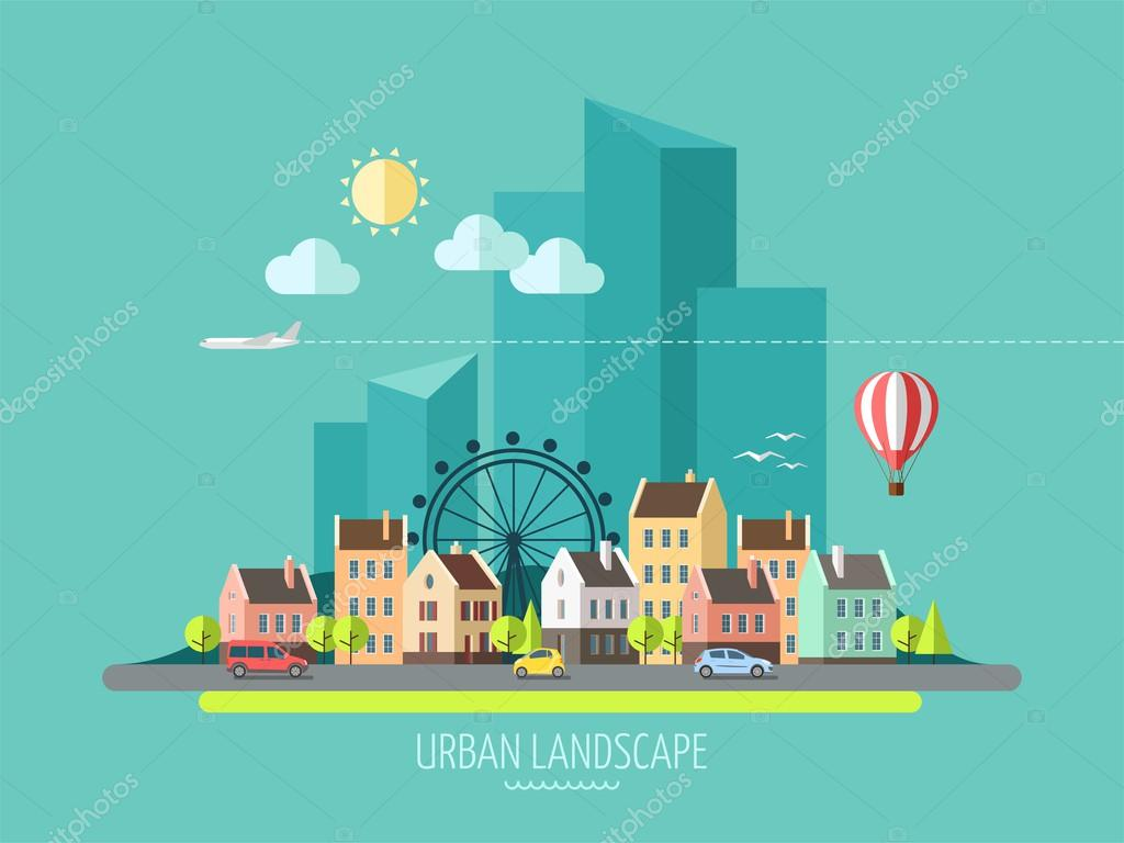 Flat design city landscape.
