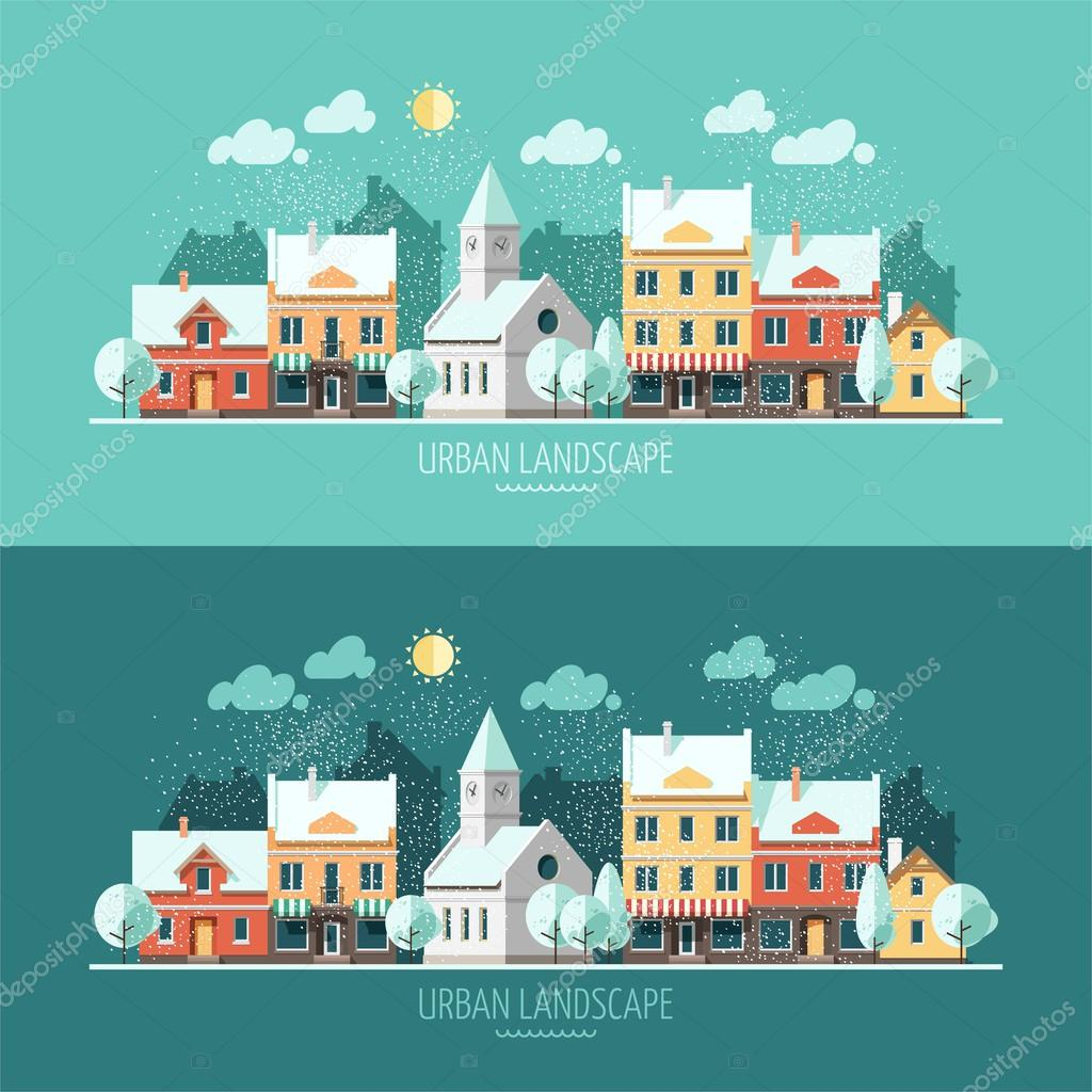 Winter - flat design urban landscape.