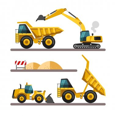 Set of building machines. Construction equipment and machinery - excavator, truck, loader.