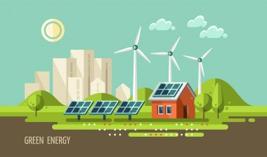 Green energy, urban landscape, ecology.