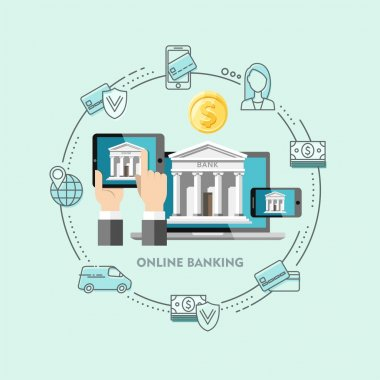 Flat design vector illustration concepts of internet banking.