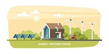 Green energy, energy-efficient house, passive house, eco house, ecology.