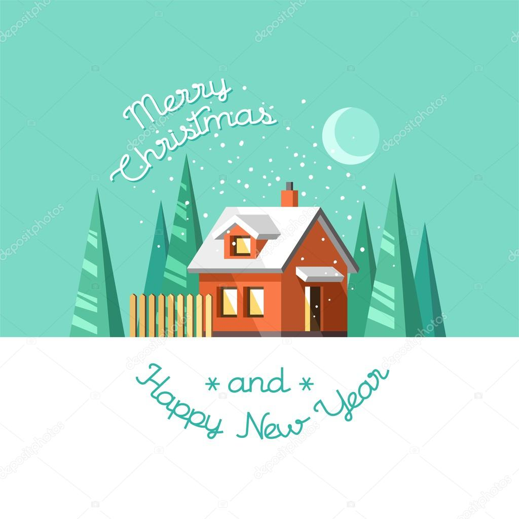 Christmas and happy new year greeting card winter house stock christmas and happy new year greeting card winter house flat vector illustration vector by faber14 kristyandbryce Gallery