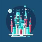 Zasněžený hrad. Ledový palác v zimě