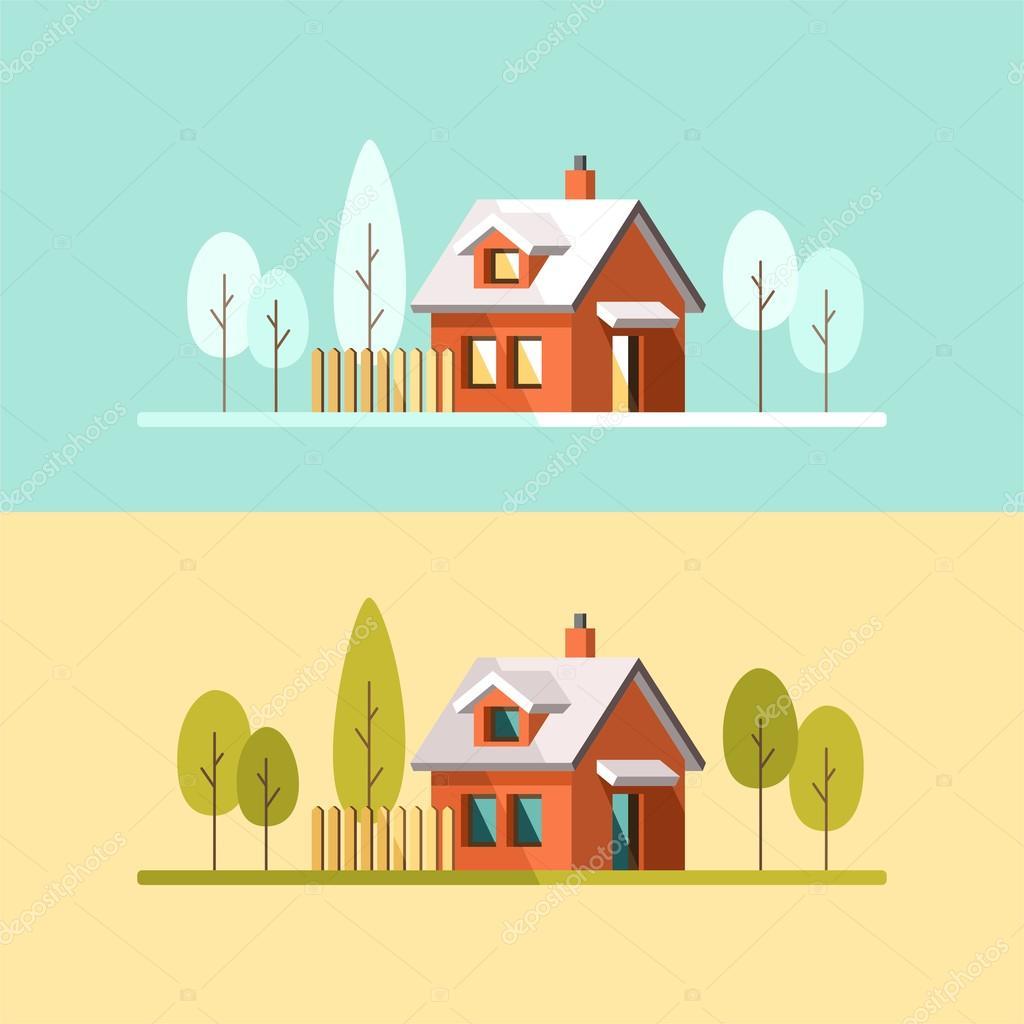 Winter house. Summer house. Family suburban home.