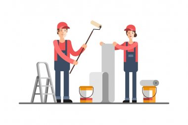 Repair construction company, service. Young woman and man worker in uniform. House repair. To glue wallpapers. Painting walls.