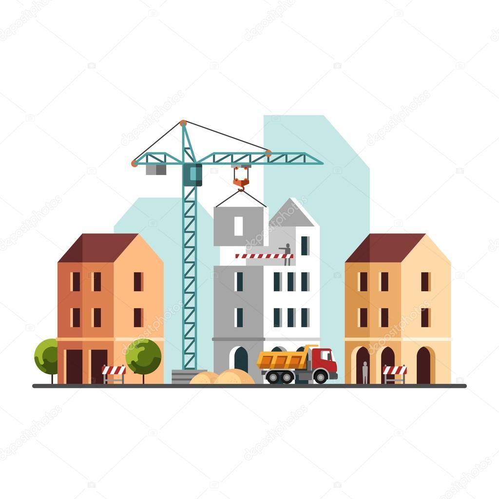 Construction site building a house under construction for Building site house