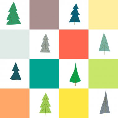 Christmas trees of different shapes and designs in Scandinavian geometric seamless pattern for festive background. New Year template for printing on paper for gift wrapping, fabric, wallpaper, cover icon