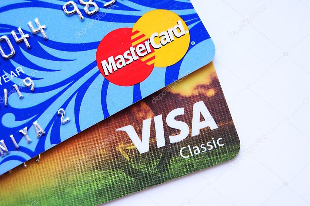 Visa Mastercard Röd Blå Shopping Aktivitet Redaktionell