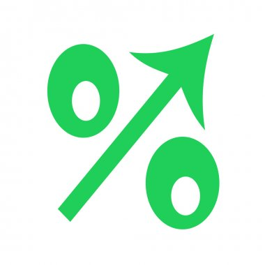The  sign of percent designating increase