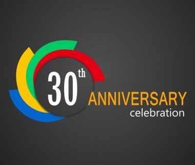 30th Anniversary celebration background, 30 years anniversary card illustration - vector eps10