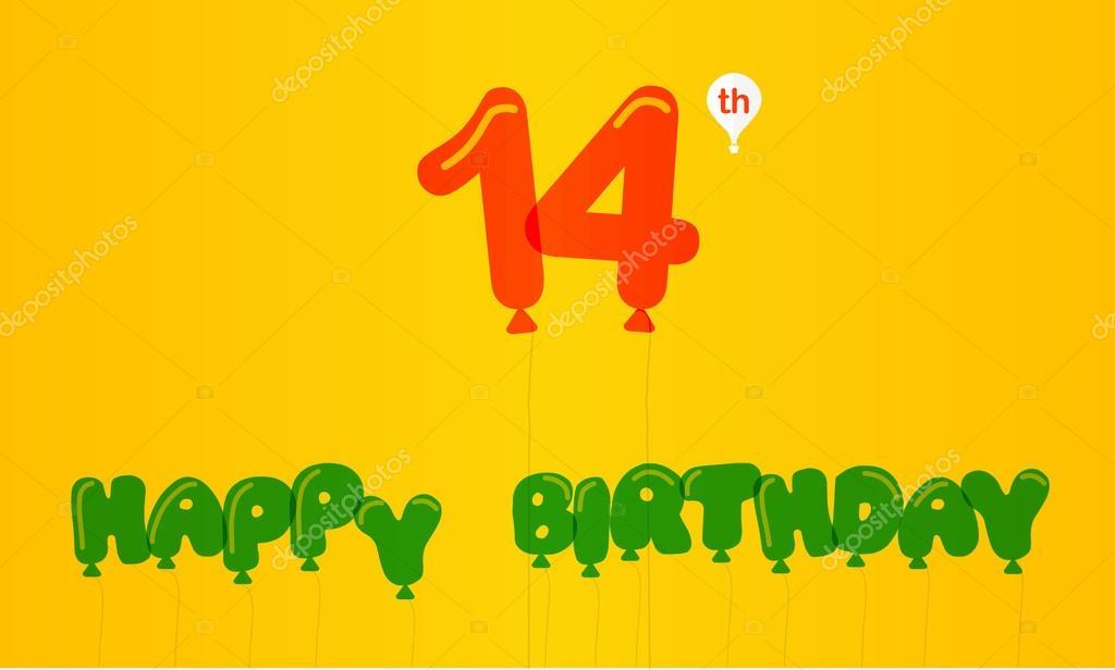 14 Jahre Geburtstag Feier Flache Farbe Flach Modernen
