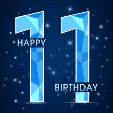 11 Year birthday celebration label, 11th anniversary decorative polygon emblem - vector illustration