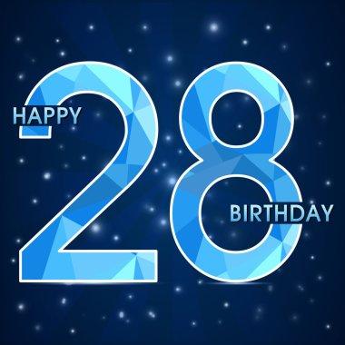 28 year birthday celebration label, 28th anniversary decorative polygon emblem - vector illustration