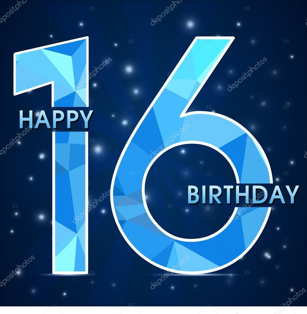 16 Jaar Verjaardag Viering Label 16e Verjaardag Decoratieve