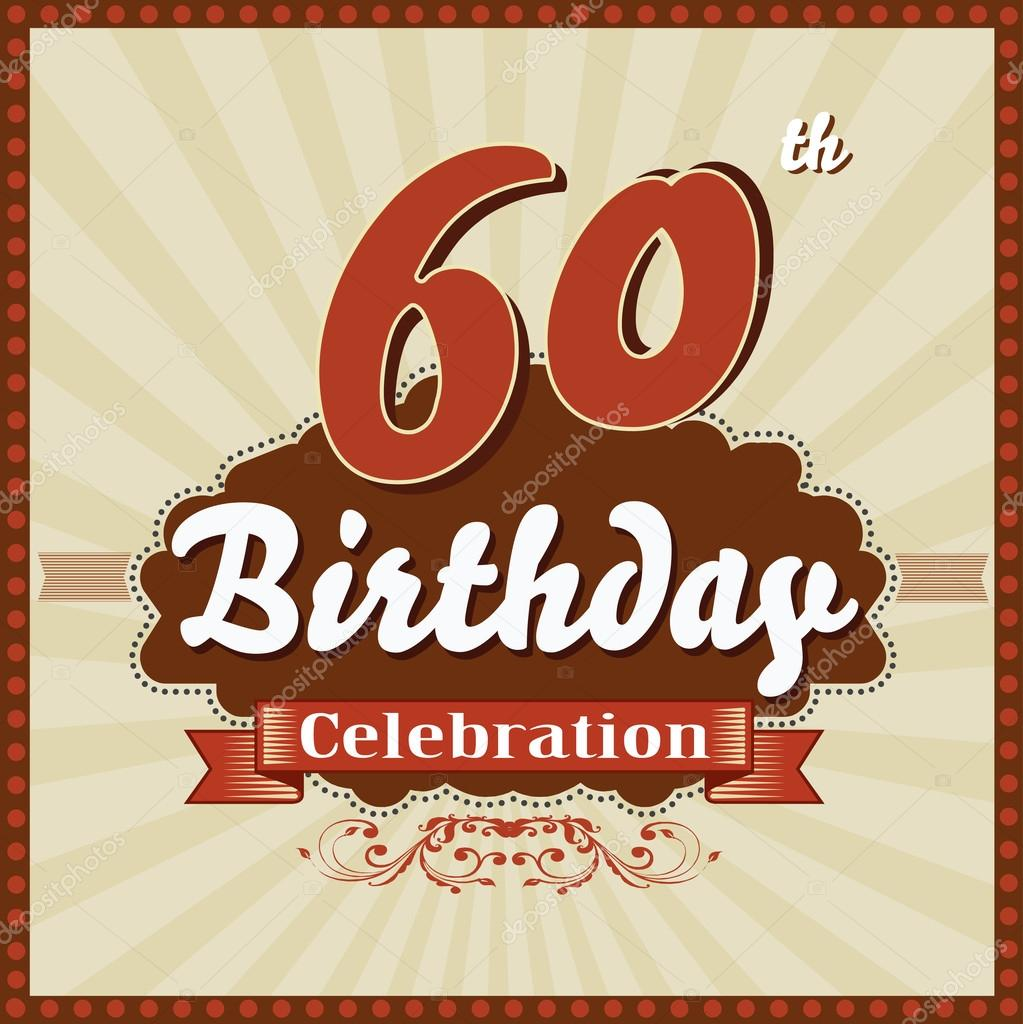 60 Years Celebration 60th Happy Birthday Retro Style Card Stock Illustration