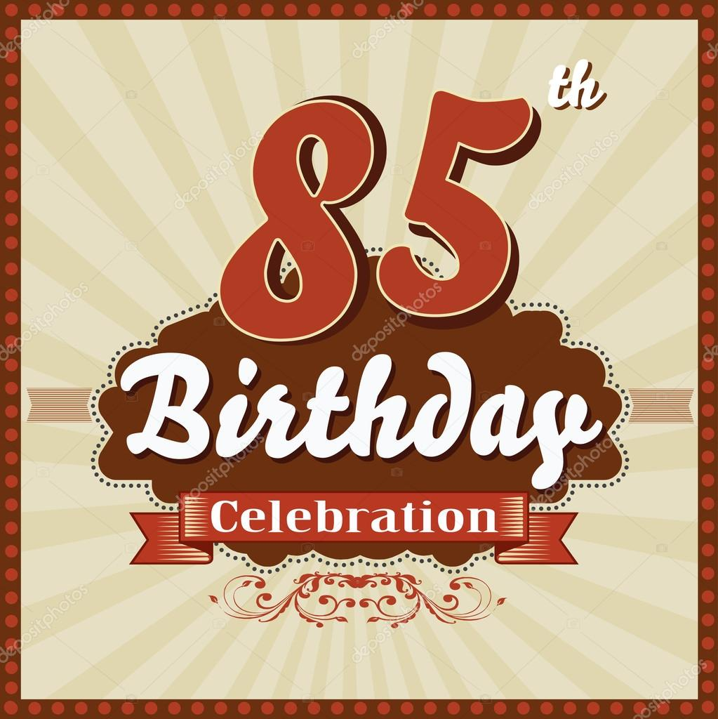 85 Years Celebration 85th Happy Birthday Retro Style Card Stock Illustration