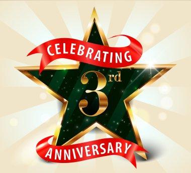 """Картина, постер, плакат, фотообои """"3-летие празднования золотой звездной ленты, празднование 3-й годовщины украшения золотой пригласительной карточкой - вектор eps10 """", артикул 53014395"""
